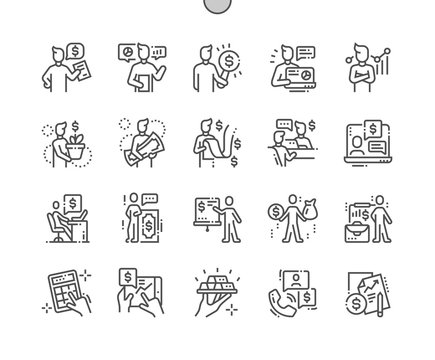 Financial advisor Well-crafted Pixel Perfect Vector Thin Line Icons 30 2x Grid for Web Graphics and Apps. Simple Minimal Pictogram