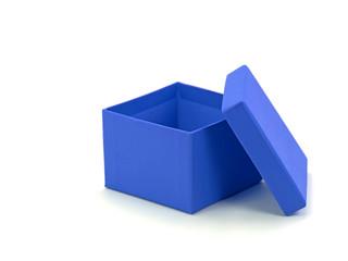 Leere offene blaue Pappschachtel vor weißem Hintergrund
