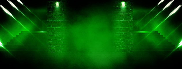 Background of an empty room with brick walls, stairs, illuminated by green neon light, laser beams