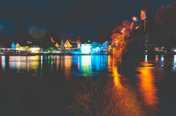Traben-Trarbach at the time of the Christmas market in Germany in 2018 with the banks of the Moselle
