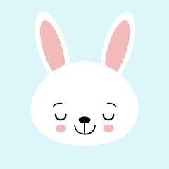Cute bunny vector graphic icon. White rabbit animal head, face illustration. Isolated on blue background