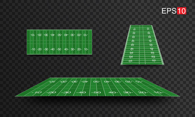 illustration American Football fields with different perspective, vector design, super bowl