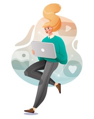 Young female with a tablet communicates in social networks. Vector