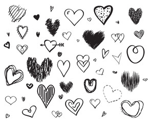 Hand drawn hearts on white background. Set of love signs. Unique illustration for design. Black and white illustration for banners, flyers or posters