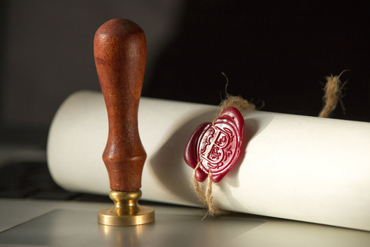 Last will and testament with wooden judge gavel document is mock-up