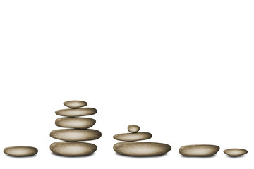 Spa still life background with zen stones isolated on white background