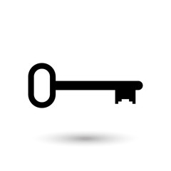 Key black icon with shadow. Vector