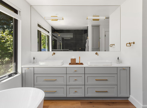 Beautiful Bathroom Double Vanity in New Home, with Large Mirror