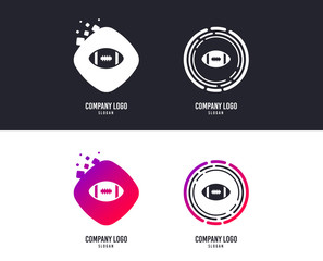 Logotype concept. American football sign icon. Team sport game symbol. Logo design. Colorful buttons with icons. Vector