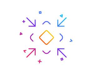 Minimize arrow line icon. Small screen symbol. Minimise Navigation sign. Gradient line button. Minimize icon design. Colorful geometric shapes. Vector