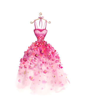 Watercolor fashion illustration. Elegant dress. fashionable women's dress.