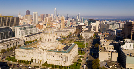 Aerial View City Hall Downtown Core Urban Center San Francisco Metro Skyline