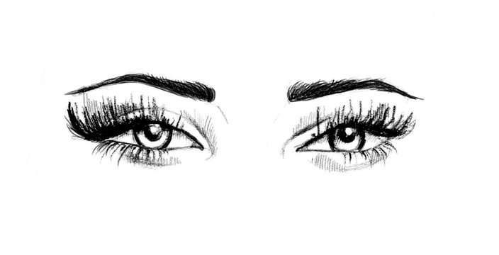 Hand drawn watercolor eyes.  luxurious eye with perfectly shaped eyebrows and full lashes.