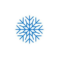 Blue snowflake icon, snow pictogram, winter symbol
