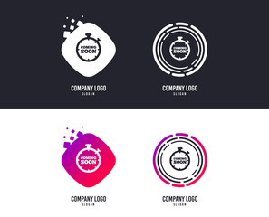 Logotype concept. Coming soon sign icon. Promotion announcement symbol. Logo design. Colorful buttons with icons. Vector
