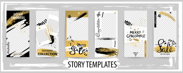 Trendy editable winter template for social networks stories, vector illustration.