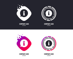 Logotype concept. Information sign icon. Info speech bubble symbol. Logo design. Colorful buttons with icons. Vector