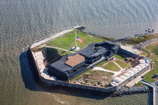 Fort Sumter with flag at half staff