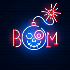 Bomb blue glowing neon icon. Glowing sign logo