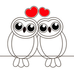 Loving owls birds night drawn lines on white background. Vector