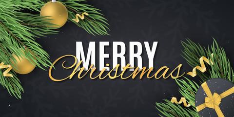 Merry Christmas web banner. Fir tree with Gift box, christmas balls, serpentine. Modern festive design. For sale. Snowflake pattern. Vector illustration