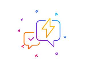 Lightning bolt line icon. Chat messages sign. Speech bubble symbol. Gradient line button. Lightning bolt icon design. Colorful geometric shapes. Vector