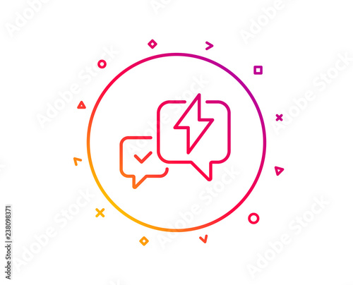 Lightning Bolt Line Icon Chat Messages Sign Sch Bubble Symbol Grant Pattern On Design Geometric Shapes Vector