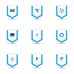 Image icons colored set with tune, lightning, image and other sparkle