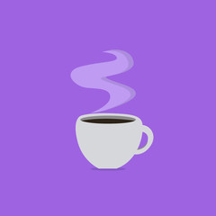 Flat design business Vector Illustration concept template copy space text for Ad website esp isolated 3d isometric. Cup Filled up of Coffee or Tea Steaming Hot with steam icon and shadow