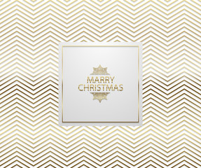 Christmas background with shining golden zigzag pattern. Merry Christmas text and snowflake. Vector Illustration. Geometric white backdrop card