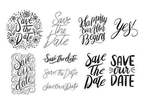 Save the Date Lettering. Save the Date Overlays in Black and White.