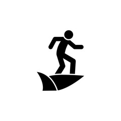 Boy on the surf board icon thin glyph for web and mobile, modern minimalistic flat design.