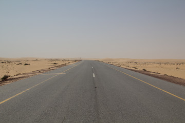 Empty road leading through a vast desert strip during a off road trip through the Sultanate of Oman