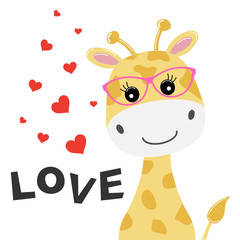 Greeting card cute baby giraffe with glasses and an inscription love isolated in white background.