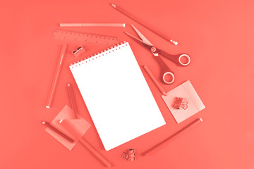 School office supplies toned in color of the year.