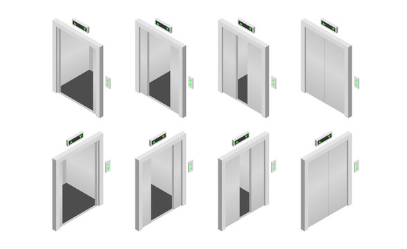 Isometric opened and closed elevator doors set. Vector illustration.