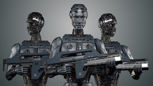 Group of heavily armed military robots or very detailed futuristic cyborgs. Isolated on blue background. 3D illustration