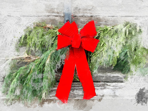 Watercolor festive natural greenery with a red bow hanging on a wooden wall