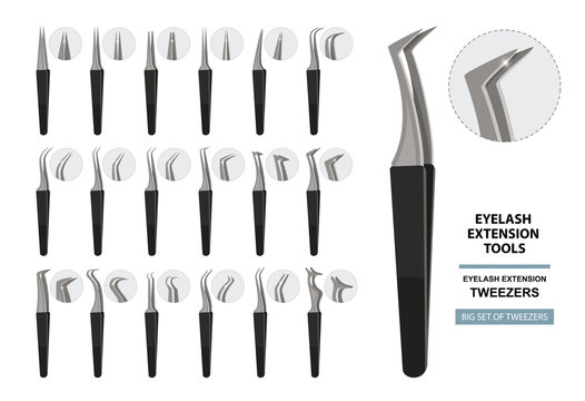 Eyelash Extension Tools. Big Set of tweezers isolated on white background. Different shapes. Vector illustration. Training poster. Guide
