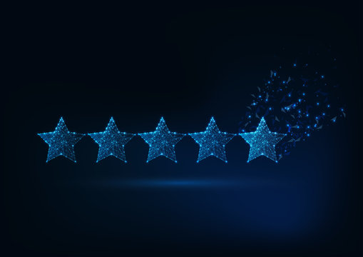 Five stars rating concept. Client satisfaction, luxury service evaluation.