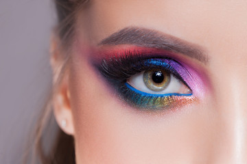 Amazing Bright eye makeup in luxurious blue shades. Pink and blue color, colored eyeshadow
