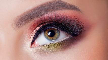 Amazing Bright eye makeup in luxurious scarlet shades. Pink and blue color, colored eyeshadow
