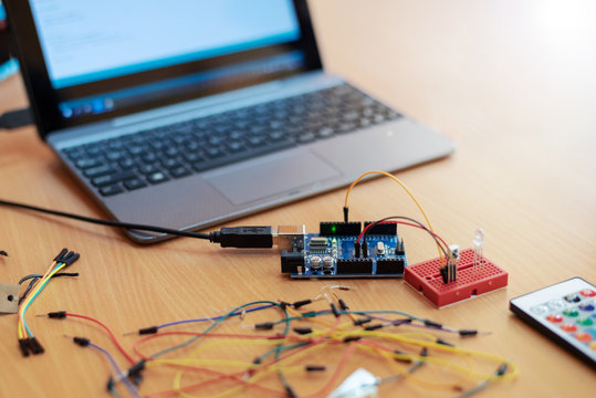 Laptop, wires and circuit board