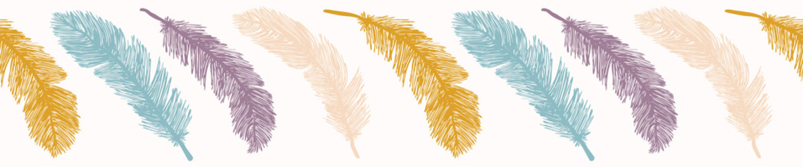 Sacred Bird Feathers  Stripes. Hand Drawn Seamless Vector Border. Fluffy Soft Feathery Wing Illustration for Spiritual Totem Animal Stationery, Nature Backdrops, Boho Banner. Turquoise Purple Blue