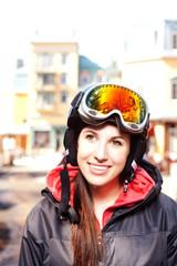 Portrait of beautiful ski girl