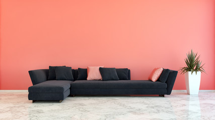 large luxury modern bright interiors Living room korall red illustration 3D rendering computer digitally generated image