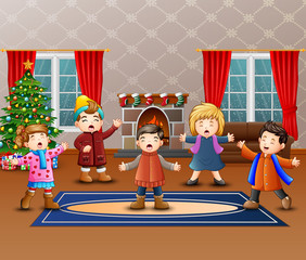 Cartoon of Group children singing in the christmas day