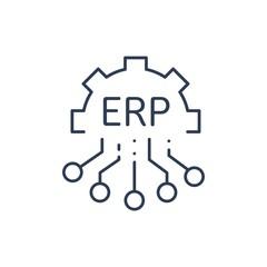 ERP-система, планирование ресурсов предприятия. Автоматизация бизнеса и инноваций. Вектор значок.
