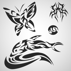 Animals and insects pattern tribal set tattoo.