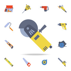 color angle grinder icon. Detailed set of color construction tools. Premium graphic design. One of the collection icons for websites, web design, mobile app